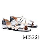 涼鞋 MISS 21 個性曲線一字造型拼接羊皮平底涼鞋-銀