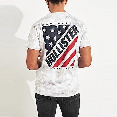 HCO Hollister 海鷗 經典印刷文字國旗設計短袖T恤-白灰色