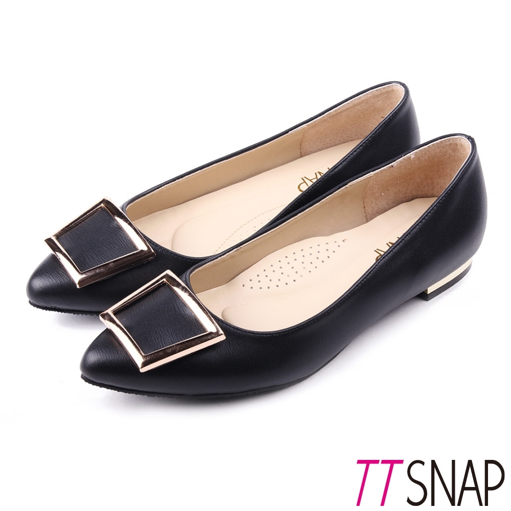 TTSNAP尖頭鞋-MIT時尚女伶方釦真皮金屬低跟鞋 黑