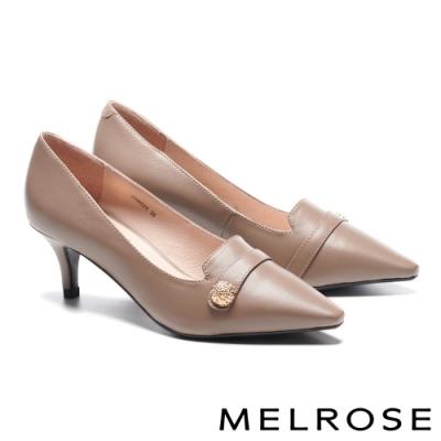 低跟鞋 MELROSE 知性典雅金屬釦條帶羊皮尖頭低跟鞋-杏
