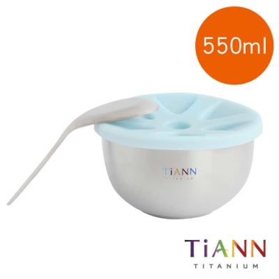 TiANN 鈦安純鈦餐具 550ml 純鈦雙層碗+不燙手台式湯匙套組 含矽膠防漏蓋