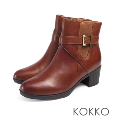 KOKKO - 懷舊風漸層刷色牛皮粗跟短靴 - 奶茶咖