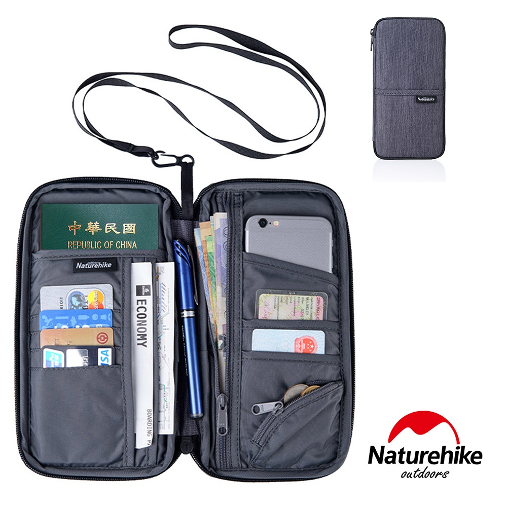 Naturehike 多功能防水旅行護照證件收納包 灰色-急
