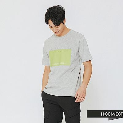 H:CONNECT 韓國品牌 男裝-立體標語印製T-shirt-灰