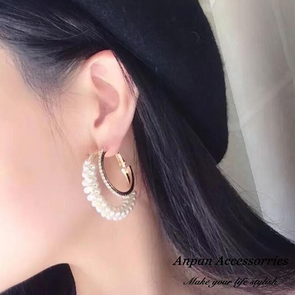 【全館6折ANPAN】韓東大門個性金屬水鑽雙環珍珠耳環