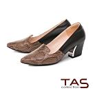 TAS 雙色蛇紋拼接尖頭粗跟鞋-人氣黑