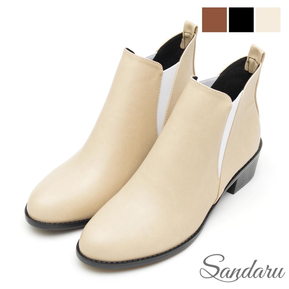 山打努SANDARU 短靴 經典側V字鬆緊尖頭切爾西靴-米
