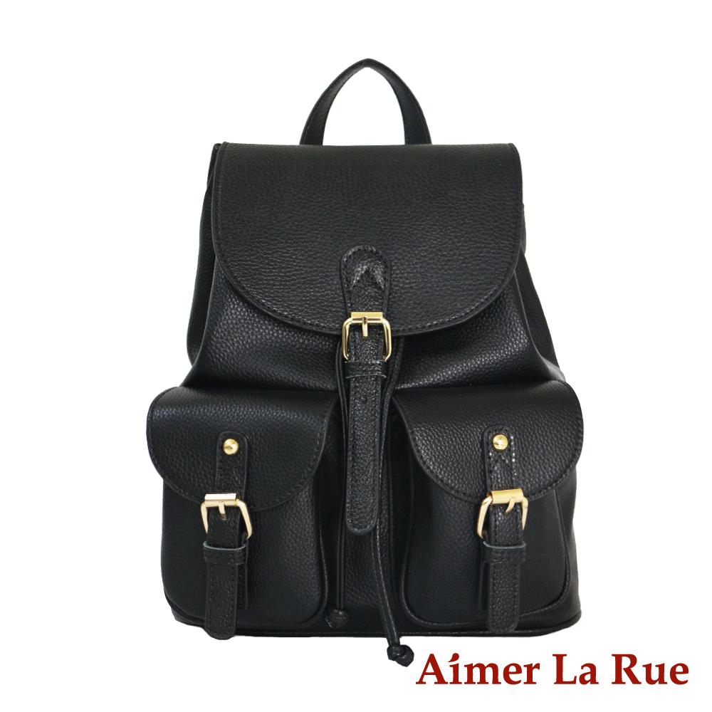 Aimer La Rue 後背包 真皮輕盈自在荔枝紋系列(黑色)