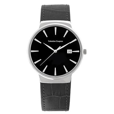 Valentino Coupeau 范倫鐵諾 古柏 時尚極簡設計腕錶【銀色/黑皮/黑釘】