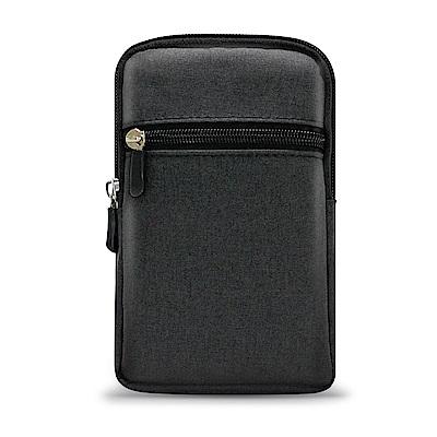 Aisure ZenFone Max Pro ZB602KL時尚前端雙層拉鍊帆布腰包