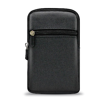 Aisure For Note9/Note8/Note5 時尚前端雙層拉鍊帆布腰包