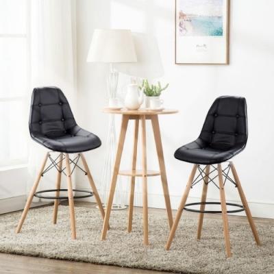 E-home EMSLH北歐經典拉扣吧檯椅 黑色
