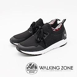 WALKING ZONE 洞感服貼設計 運動慢跑休閒女鞋-黑(另有藍)