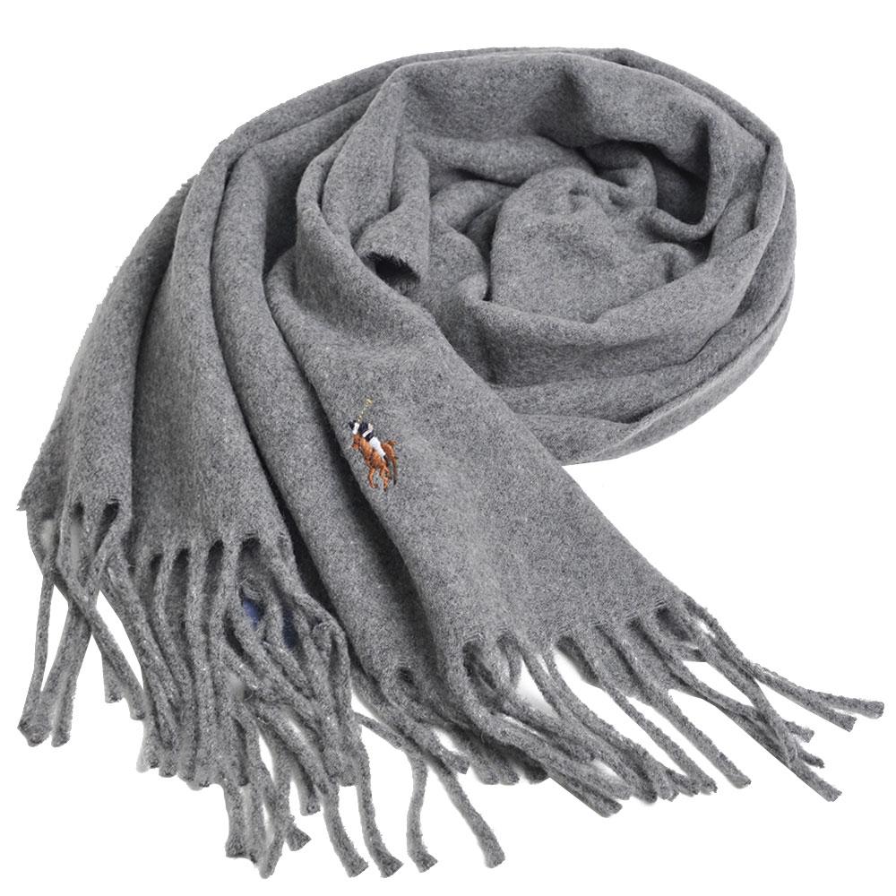 RALPH LAUREN POLO 義大利製彩色小馬刺繡LOGO素面羊毛圍巾(灰色系)GUCCI
