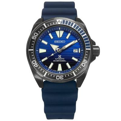 SEIKO 精工 PROSPEX 鮪魚罐頭  矽膠潛水機械錶-藍x灰框/44mm