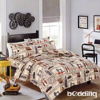 BEDDING-活性印染單人全鋪棉床包兩用被套三件組-英倫風尚