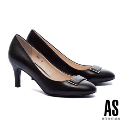 高跟鞋 AS 質感百搭金屬帶釦羊皮尖頭高跟鞋-黑