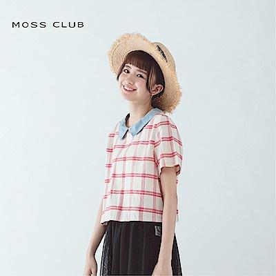 【MOSS CLUB】英倫風格紋短版-襯衫