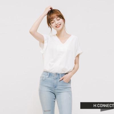 H:CONNECT 韓國品牌 女裝 - 後交叉造型雪紡上衣 - 白