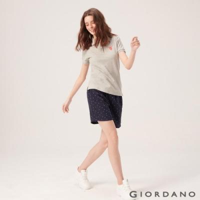 GIORDANO 女裝棉麻抽繩休閒短褲-87 海軍藍/白點