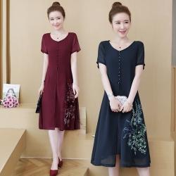 復古時尚純色印花雪紡洋裝L-5XL(共兩色)REKO