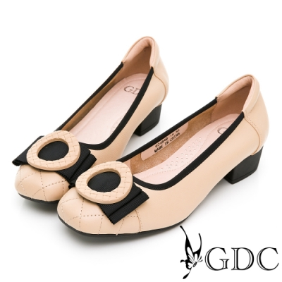 GDC-基本簡約撞色菱格百搭上班低跟鞋-卡其色