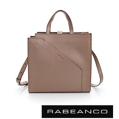 RABEANCO CHEI系列牛皮時尚剪裁手提/斜背方包 深杏