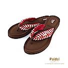 Paidal叢林度假綁帶膨膨氣墊厚底夾腳涼拖鞋-紅