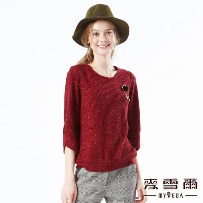 【麥雪爾】閃耀亮粉不規則袖毛球裝飾上衣
