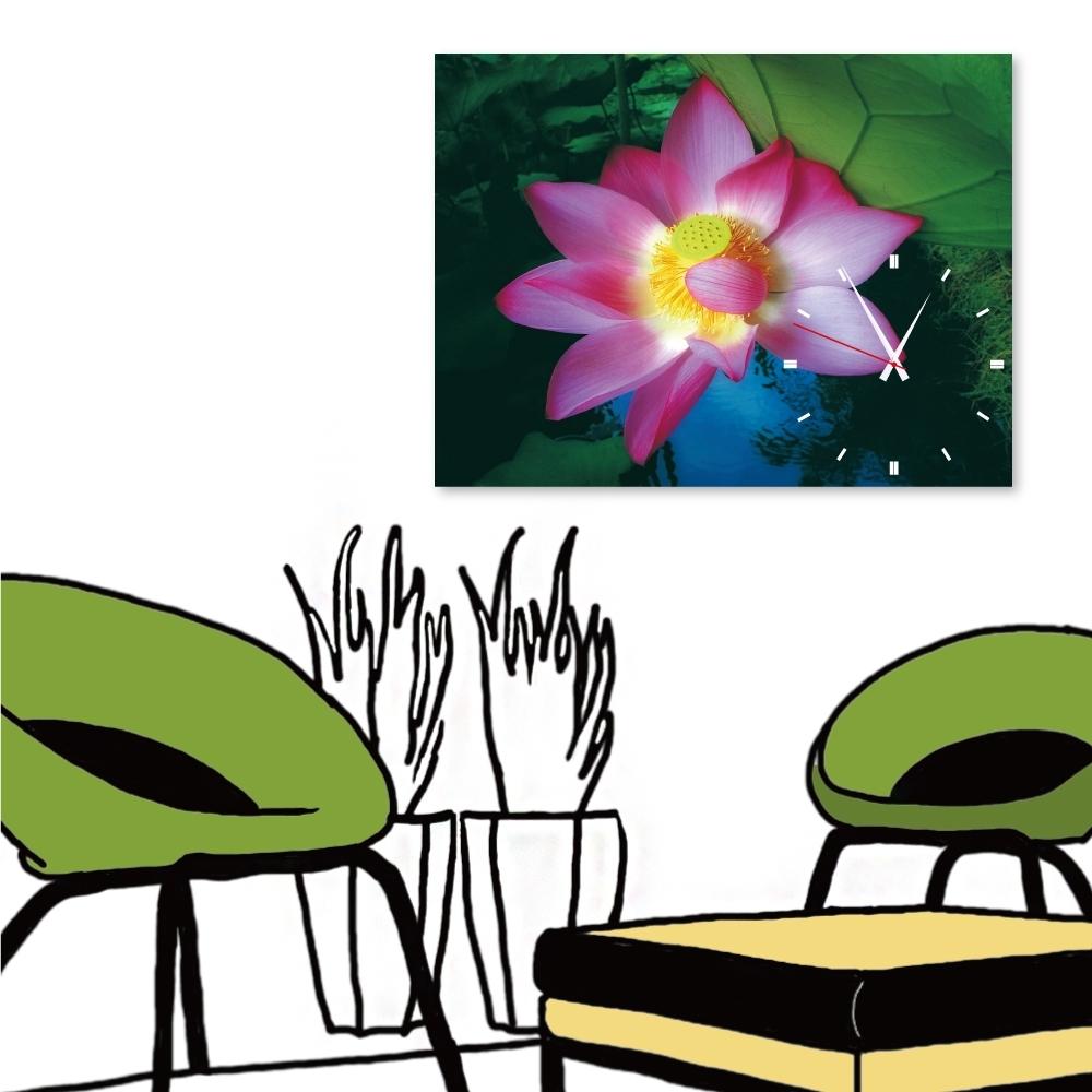 24mama掛畫 單聯式 現代時鐘掛畫/無框畫 30x40cm-蓮花