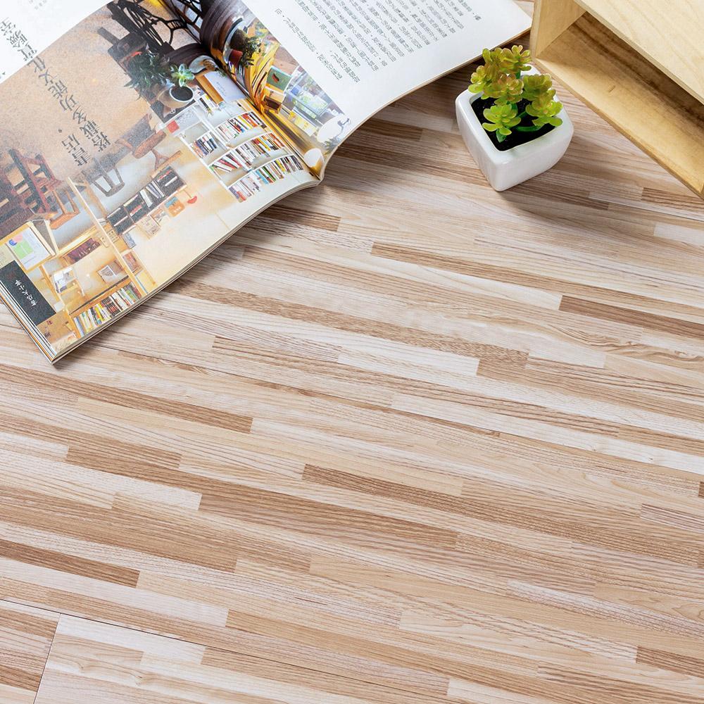 樂嫚妮 (160片)DIY塑膠PVC仿木紋DIY地板貼 6.9坪 米色竹節拼木-贈壁貼