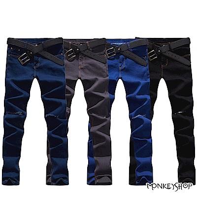 Monkey Shop 素面彈力合身刀割破壞保暖內刷毛單寧牛仔褲-4色