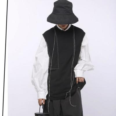 設計所在Style-設計小眾款圓領無袖明線裝飾馬夾背心