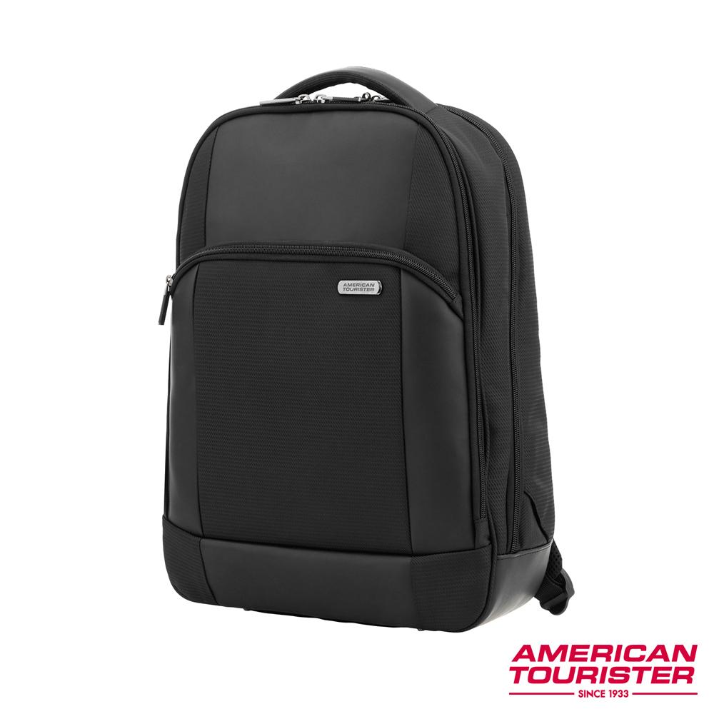 AT美國旅行者 ESSEX 防盜筆電多夾層後背包(附防塵雨套)15 (黑)