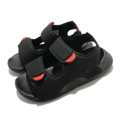 adidas 涼鞋 Swim Sandal I 童鞋 愛迪達 魔鬼氈 外出 郊遊 踏青 黑 橘紅 FY8064