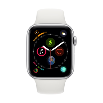 [無卡分期-12期]Apple Watch S4(GPS+網路)44mm銀色鋁+白錶帶