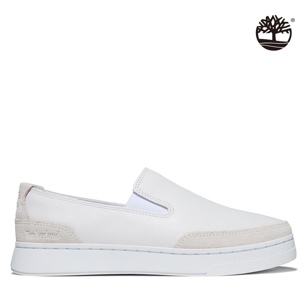 Timberland 女款白色Atlanta Green全粒面皮革休閒鞋|A23SW