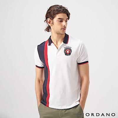 GIORDANO 男裝經典配色麋鹿刺繡短袖POLO衫-61 標誌白/海軍藍