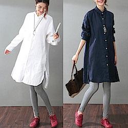 洋裝-棉麻中長版襯衫裙寬鬆/設計所在 SC955
