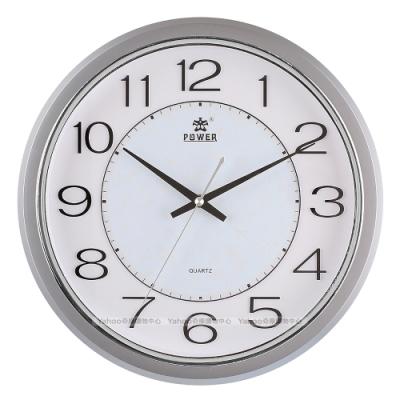 POWER霸王鐘錶-金屬感設計靜音掛鐘-星河銀-PW-8212-FKS-32.4CM