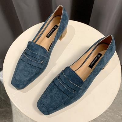 KEITH-WILL時尚鞋館 歡樂單品簡約優雅素面方頭粗跟鞋-藍