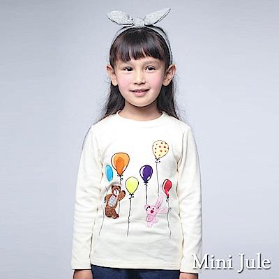 Mini Jule 上衣 小熊粉紅兔汽球印花長袖T恤(米黃)