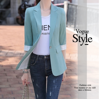 2F韓衣-顯瘦反摺袖立體剪裁造型西裝外套-3色(M-XL)