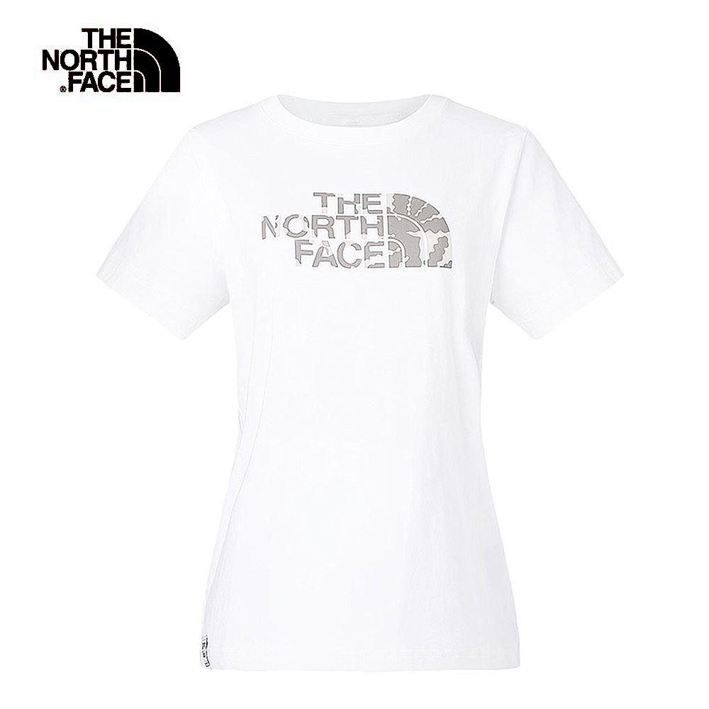 The North Face北面女款白色熱帶印花短袖T恤|3V4CFN4