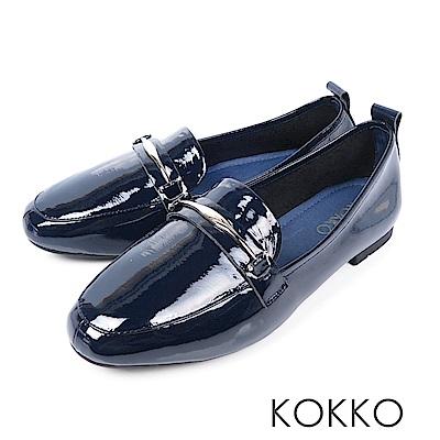 KOKKO -去月球漫步吧漆皮樂福鞋 - 深水藍