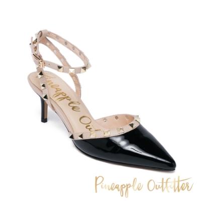 Pineapple Outfitte-SASSY 鉚釘尖頭繫帶跟鞋-鏡黑色