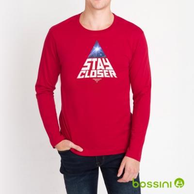 bossini男裝-印花長袖T恤02暗紅