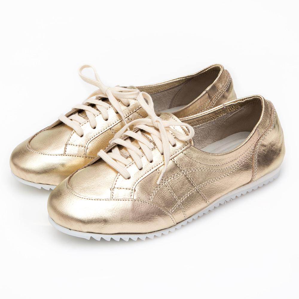 Camille's 韓國空運-全真皮復古綁帶小白鞋-金色