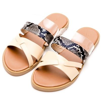 River&Moon中大尺碼-異材質拼接蛇紋平底涼拖鞋-米