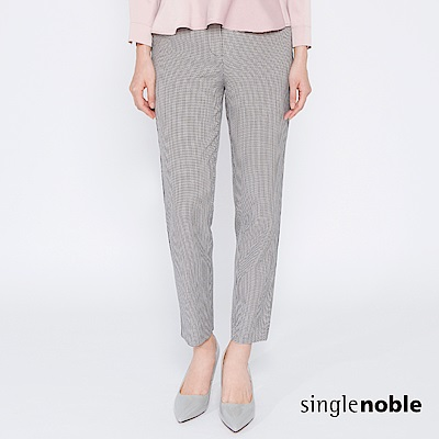 獨身貴族 城市品味千鳥格紋滾邊直筒褲(2色) @ Y!購物